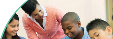 Teacher and Children learning - Banner Image